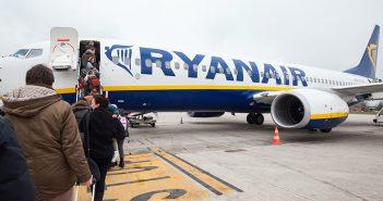 BOLOGNA, ITALY - OCTOBER 19: Passengers boarding Ryanair Jet air
